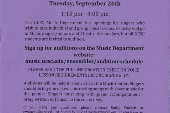 Voice Lessons | Music Department | UC Santa Cruz